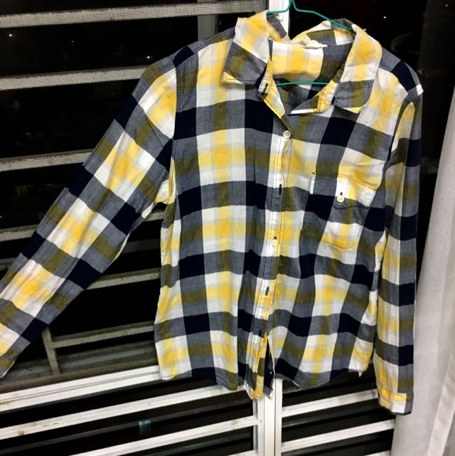 Forever 21 Yellow Check Flannel