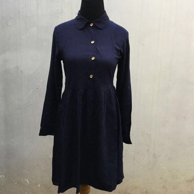 Hardware Navy Flare Dress