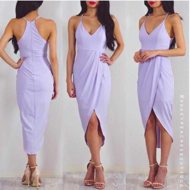Honey Peaches Lilac Dress Midi Size 10