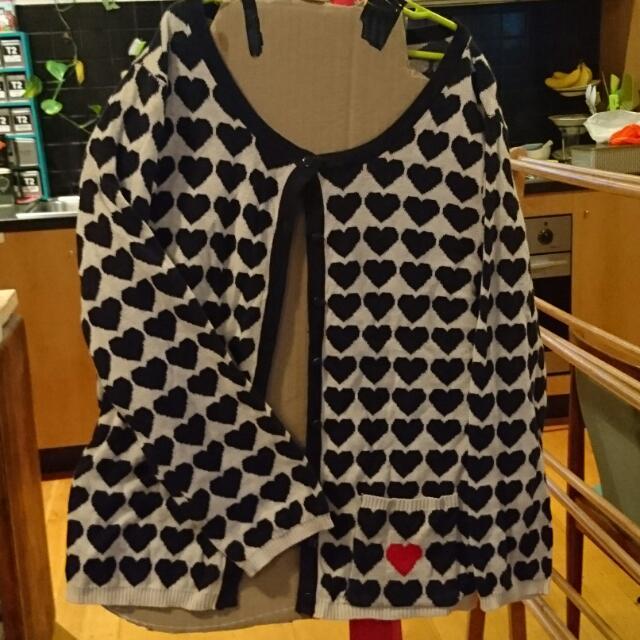 Kitten Heart Knit Cardigan Size L