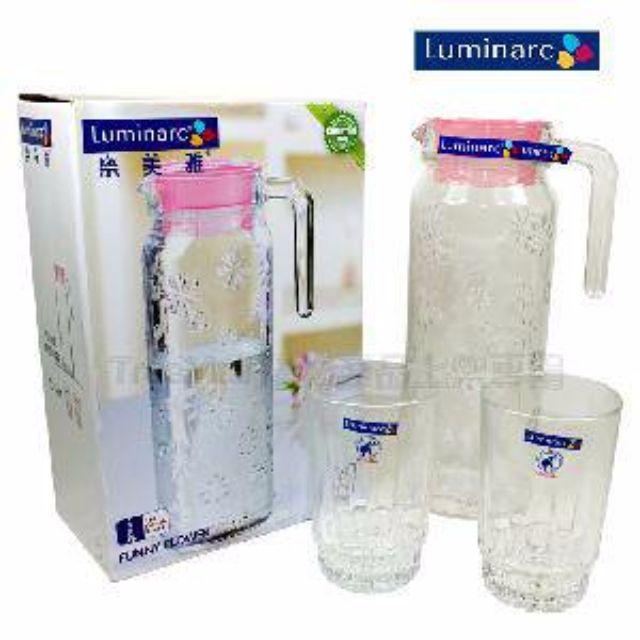 【法國Luminarc樂美雅】花朵浮雕玻璃冷水壺+2入水杯組