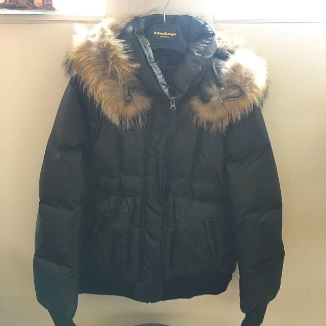 Mackage Bomber Jacket W/fur Hood