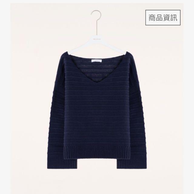 簡約立體坑條感V領寬袖毛衣