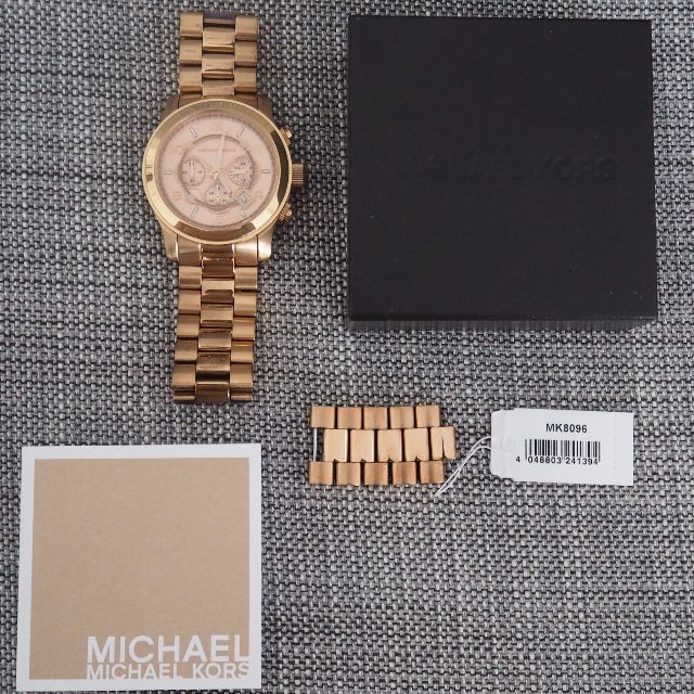 eac7bf3fe06c Michael Kors MK8096 - Oversized  Runway  Rose Gold Chronograph Watch ...