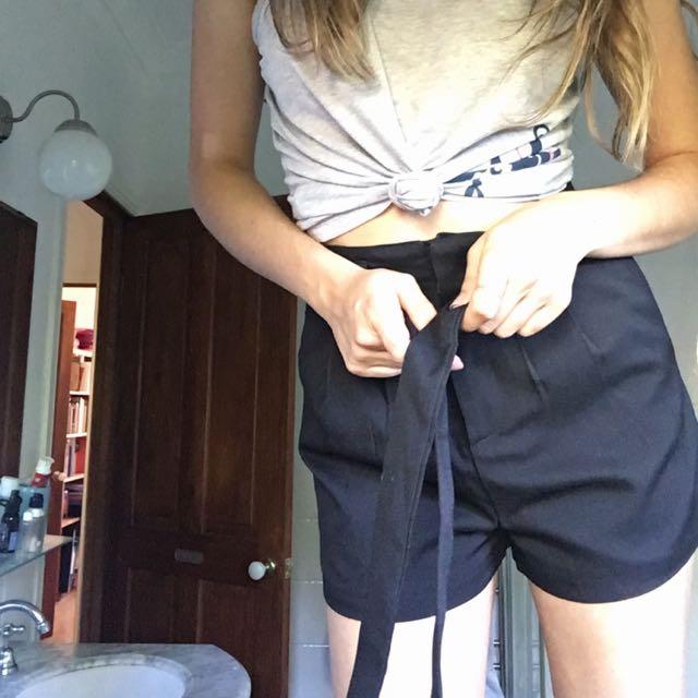 MOOLOOLA BLACK PAPER BAG SHORTS