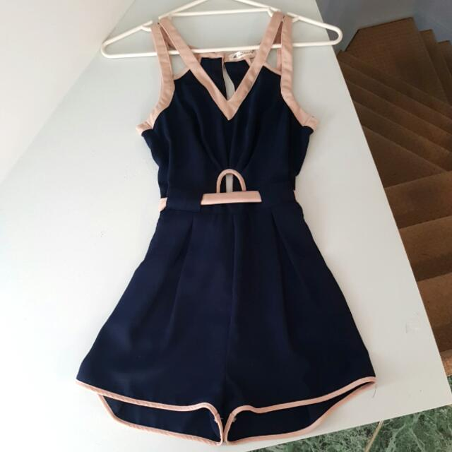 Navy and Beige Playsuit