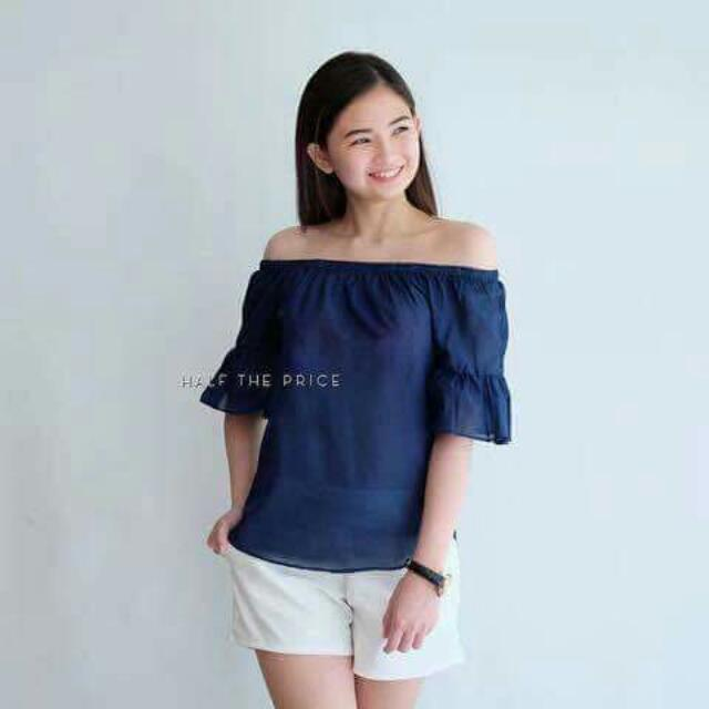 Navy Blue Bell Off Shoulder #SALE