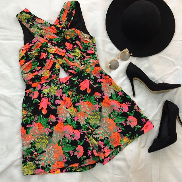 NEON FLORAL PLAYSUIT Ice (S)