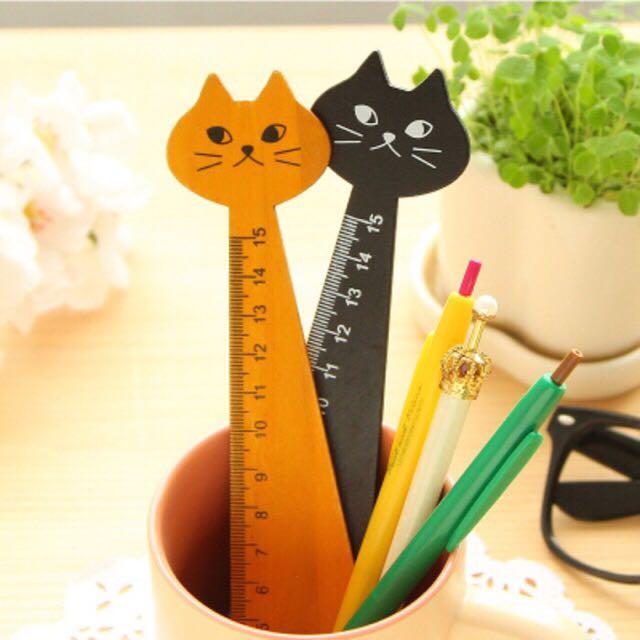 Penggaris Kayu Kucing 15 Cm