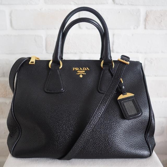 72edbb415d592e Prada BN2420 Vitello Daino Tote (Black), Luxury, Bags & Wallets on ...