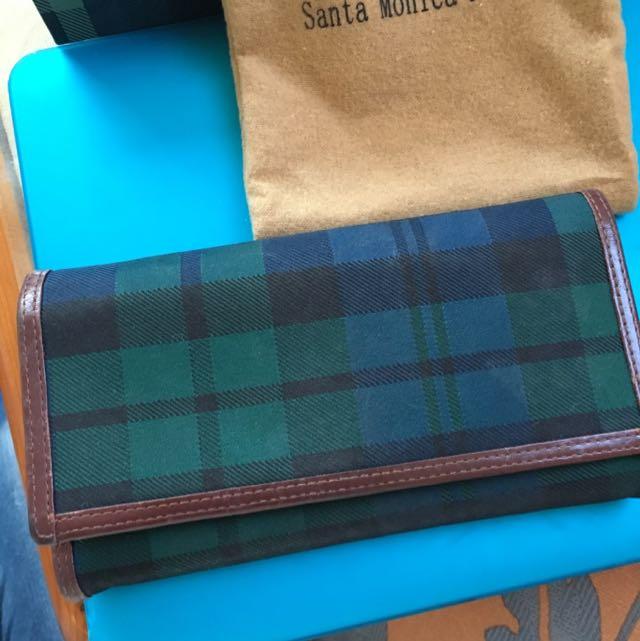 Santa Monica經典皮夾 綠格紋#轉轉來交換