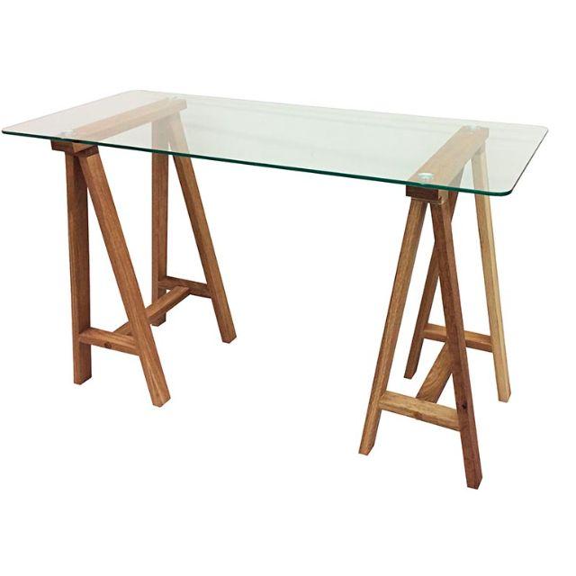 Scandinavian desk glass wood. Brand new