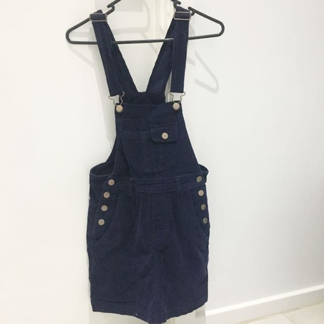 Subtitled Navy Overall Dress