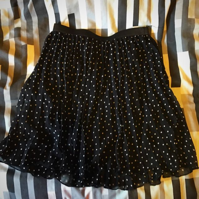 Tokito Pleated Lined Polka Dot Skirt Size 8