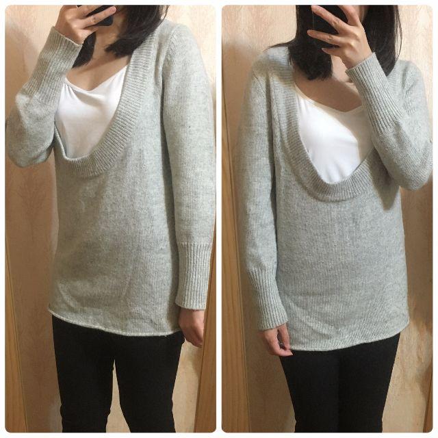 U領 灰色針織毛衣