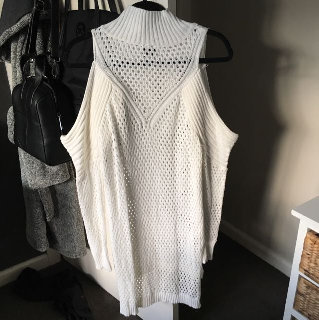White Shoulderless Knit