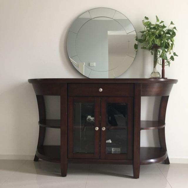 Wood Table Glass Door