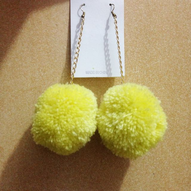Yellow PomPom Earings (anting Pompom)