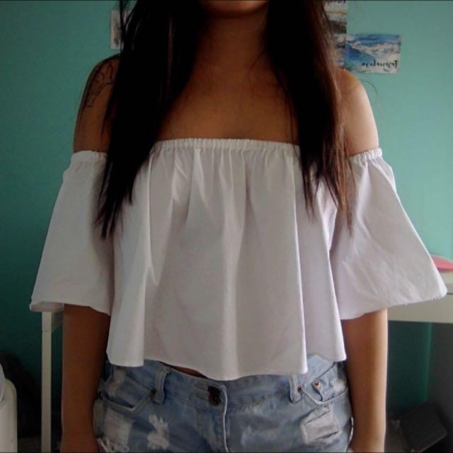 Zara Off The Shoulder White Top