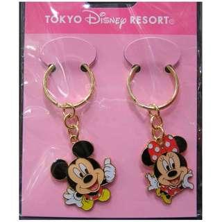 全新 日本東京迪士尼樂園 米奇及米妮 匙扣 一對