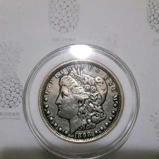 🚚 摩根一元銀幣1898年製。古幣。