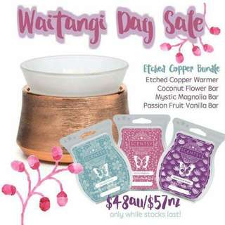 Etched Copper Scentsy Warmer Plus 3 Scentsy Bars