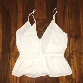 F21 Peplum White Sleeveless Blouse With A Low Back