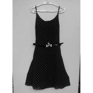 Black chiffon dress w print