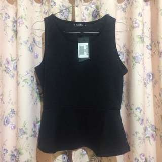Black Sleeveless Peplum Top