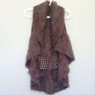 Fluffy Waterfall Front Circle Vest