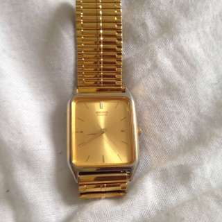 Vintage Seiko Gold Watch With Custom Elastic Type Wristband