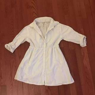 White Long Sleeved Button Up Blouse