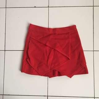 Rok Celana Merah Bahan Scuba All Size