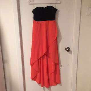 Coral and Black Strapless Dress