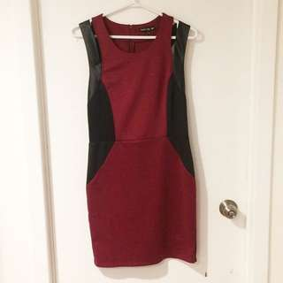 Red and Black Dress w/ Leather Straps