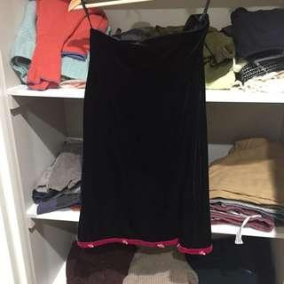 Velvet Skirt With Rose Trim