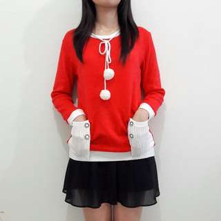 Pom-pom Hoodie Santa Sweater
