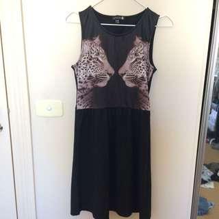 Mirrored Leopard Dress Black XS