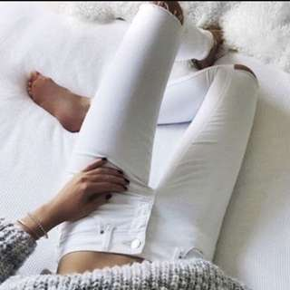 SABA white ripped skinny jeans