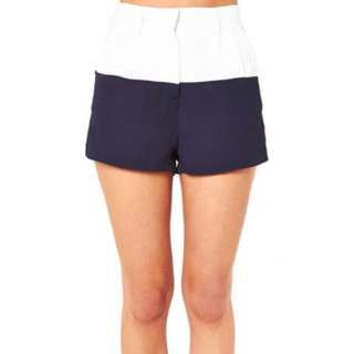 Paint It Red Navy/White Tailored Shorts S