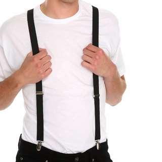 Unisex Adjustable Black Suspenders
