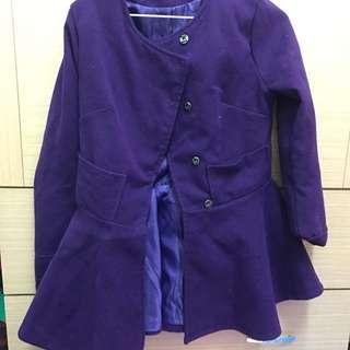 紫色兩穿氣質洋裝毛呢外套