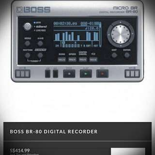 BOSS MICRO BR BR-80  (Digital Multi Track Recorder, E-jam, Stereo Recorder, Audio Interface And Many More)
