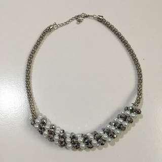 Kalung Mutiara Combine Silver