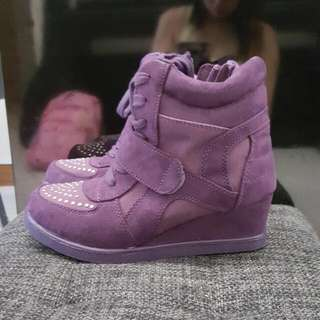 Purple Studded Wedge Sneakers
