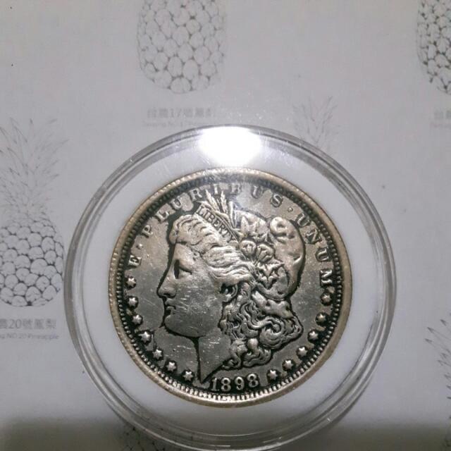 摩根一元銀幣1898年製。古幣。