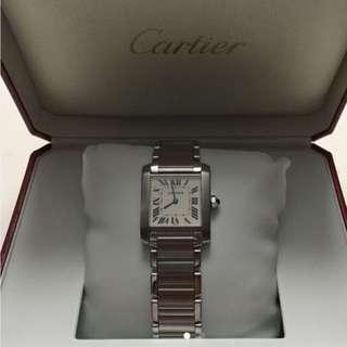 Cartier Tank Franchise Stainless Steel Roman Swiss Quartz Watch