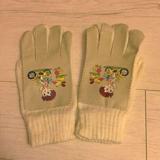 🚚 老拼接皮革針織手套