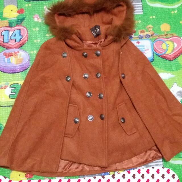 二手,兩用披風,韓版外套,背心,修身打板,橘色,連帽