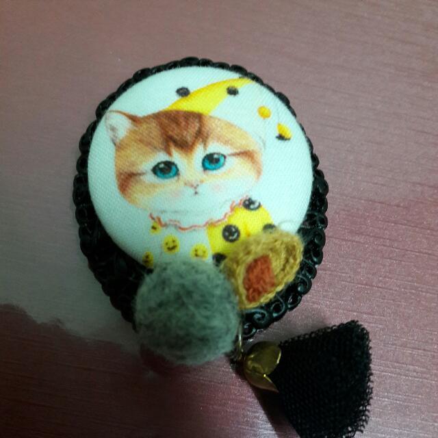 睏睏貓硬殼編織別針